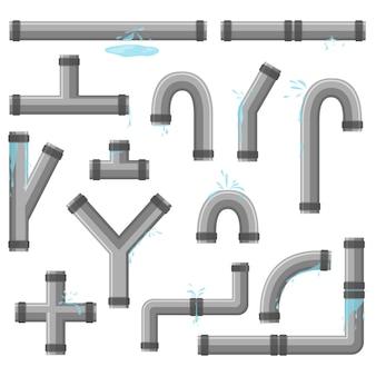 Rohr mit austretendem wasser. rohrbrüche mit undichtigkeit, bruch der kunststoffleitung. sammlung von wasserschlauch, leckage, kunststoffrohrleitung, undichtem ventil, tropfablauf. industrietechnik.