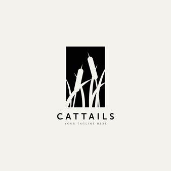 Rohrkolben pflanze silhouette logo vektor illustration design-vorlage