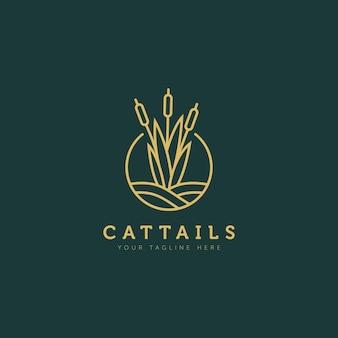 Rohrkolben pflanze über dem wasser minimalistisches flaches design logo illustration design-vorlage