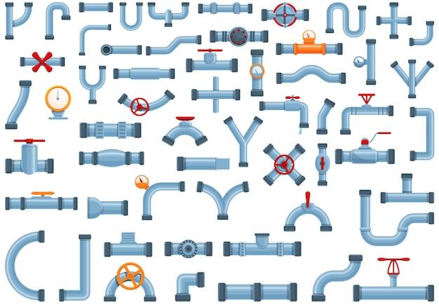 Rohrsymbole eingestellt. karikatursatz von rohrsymbolen für webdesign