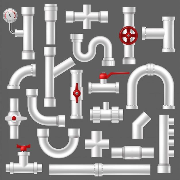 Rohrvektor-installationsrohrleitung oder rohrrohrkonstruktion des rohrleitungssystem-illustrationssatzes von kunststoffrohren mit isolierten ventilen