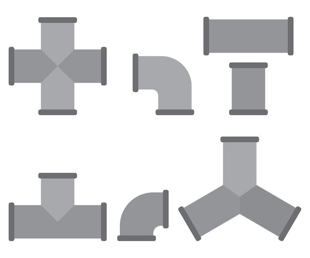 Rohrverschraubungen cartoon-set isoliert auf weißem hintergrund.