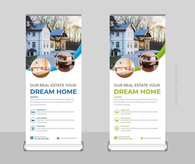 Roll-up-banner für immobilien oder standbanner oder designvorlage für x-banner und werbetafeln