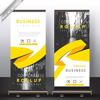 Roll-up-Banner mit gelben Band detailliert