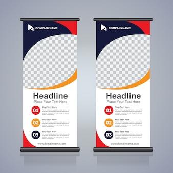 Roll-up broschüre flyer banner design-vorlage, abstrakten hintergrund, ziehen sie design, moderne x-banner und flagge-banner, rechteck-größe.