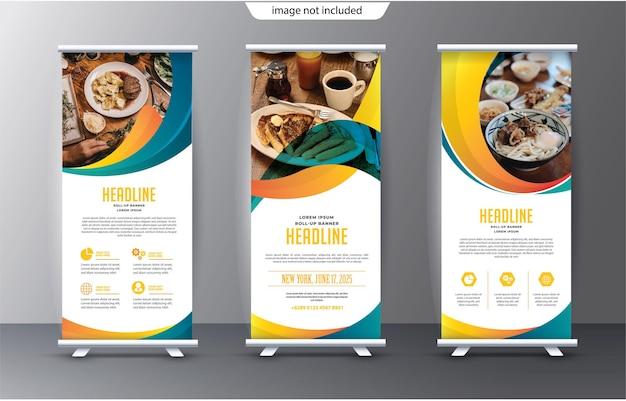 Roll-up-display-standee-vorlage für präsentationszwecke und werbung