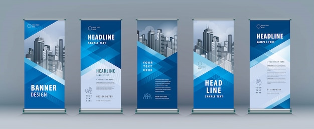 Roll up set. standee design. banner vorlage, geometrisches dreieck