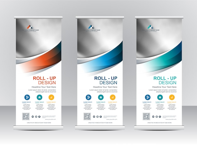 Roll up xbanner stand template design