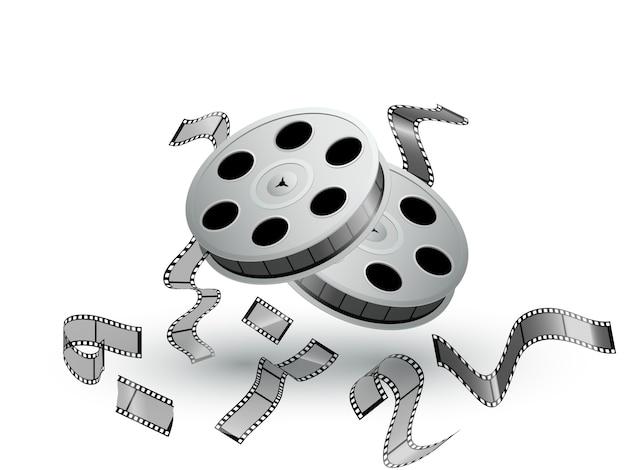 Rolle des films, des bandes, der bobina, des realistischen vektors, der auf licht isoliert wird