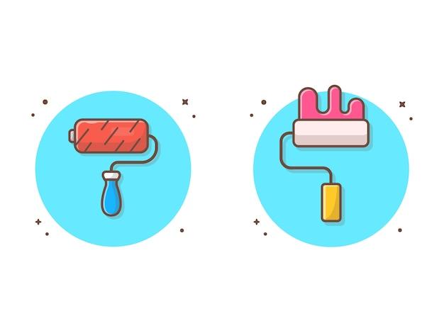 Rollen-bürsten-farben-vektor-ikonen-illustration