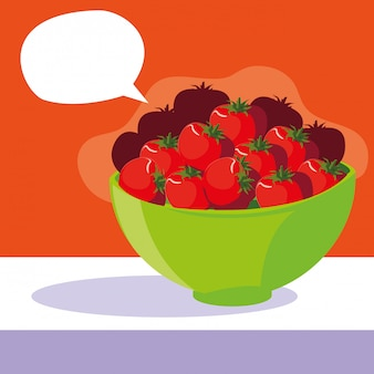 Rollen sie mit frischen roten tomaten mit spracheblase