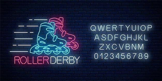 Roller derby leuchtende leuchtreklame und alphabet auf dunklem backsteinmauerhintergrund. rollschuh-wettbewerbssymbol im neon-stil. vektor-illustration.