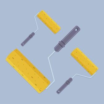 Roller malerei wand. handgemachte werkzeugsammlung der vektorillustration.