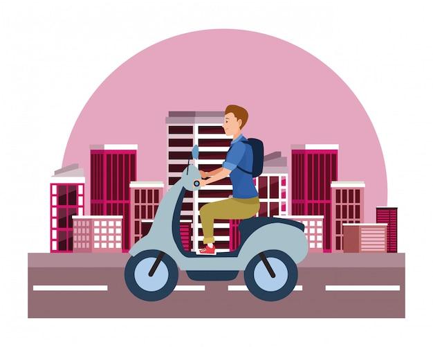 Roller-motorrad des jungen mannes reit