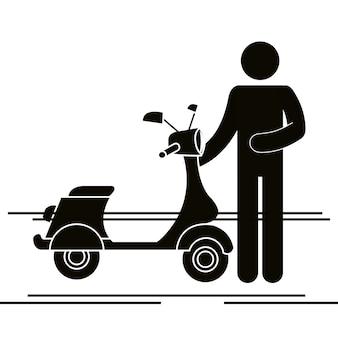 Roller motorrad mit fahrer silhouette