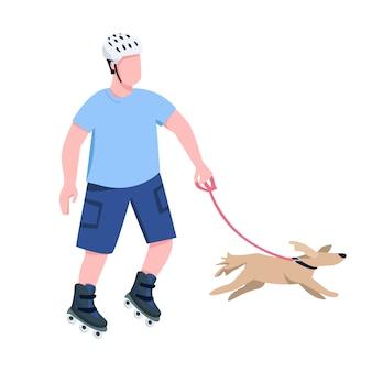 Rollschuhfahrer mit hundefarbenem gesichtslosem charakter. junger rollerblader reitet mit eckzahnhaustier, isolierte karikaturillustration des begleiters für webgrafik und animation