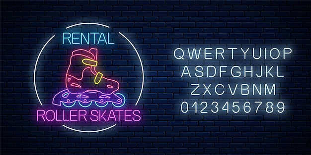 Rollschuhverleih leuchtende leuchtreklame im kreisrahmen mit alphabet auf dunklem backsteinmauerhintergrund. skatezonensymbol im neonstil. vektor-illustration.