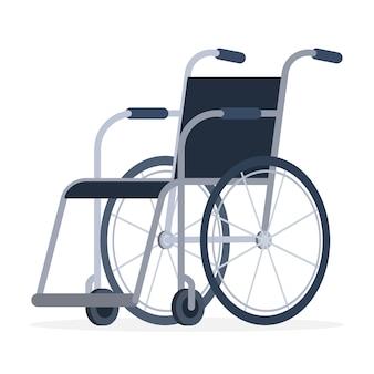 Rollstuhl im krankenhaus ohne menschen. isolierter stuhl einer behinderten person