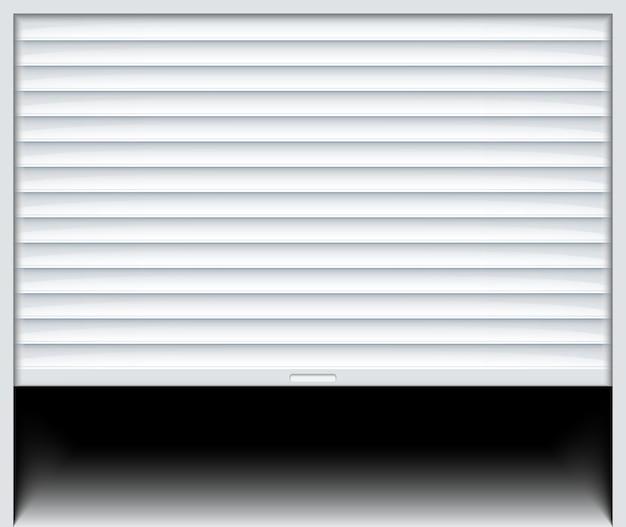 Rolltor. rolltor aus metall für garagen. elektrischer roll-weißer fenster-hintergrund-fensterladen.