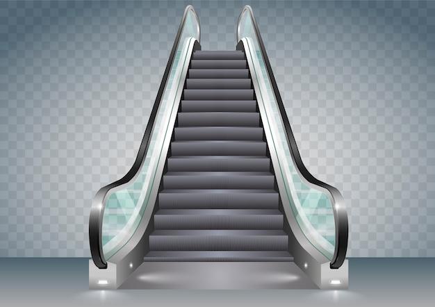 Rolltreppe mit klarem glas