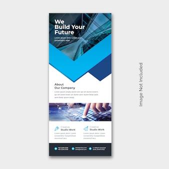 Rollup-banner mit blauem akzent