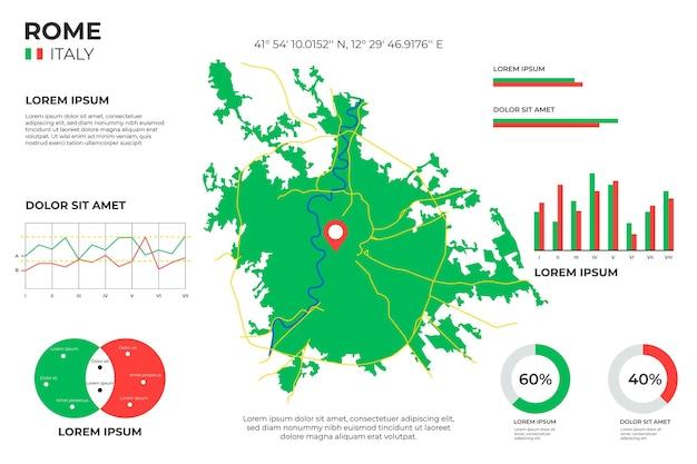 Rom karte infografiken in flachem design