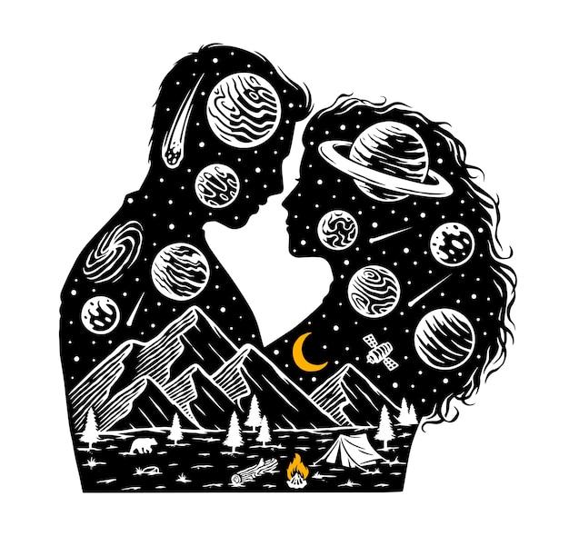Romantik in der universumsillustration