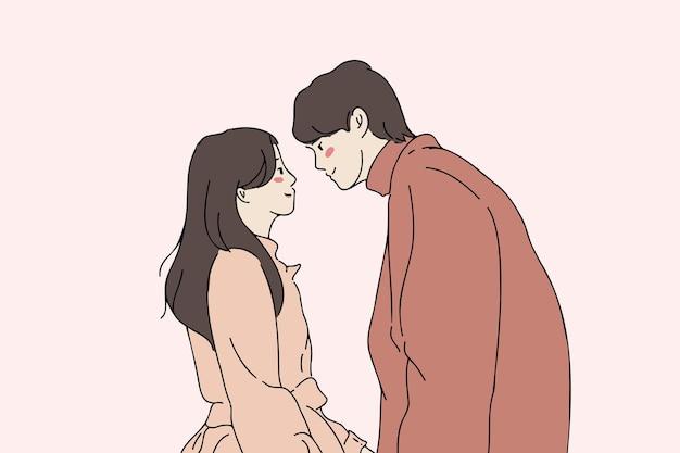 Romantik, liebe, augenkontakt, junges paar verlieben sich in konzept