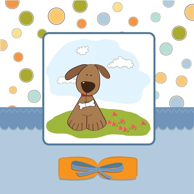 Romantische baby-dusche-karte mit hund