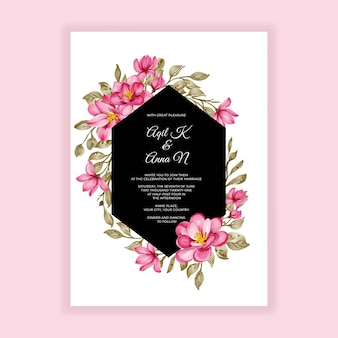 Romantische blume rosa aquarellrahmenhochzeitseinladung