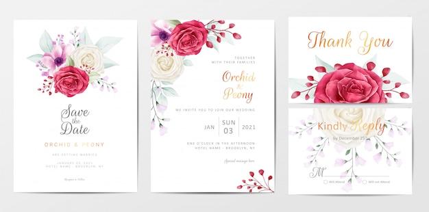 Romantische blumen, die einladungskarten-schablonensatz wedding sind