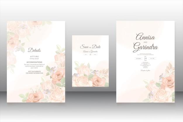 Romantische blumenhochzeitseinladungskartenschablone