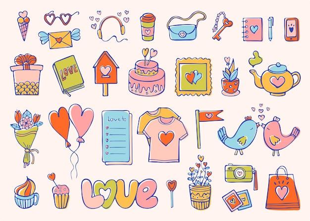 Romantische doodle-set liebe und gefühle sammlung von süßen elementen