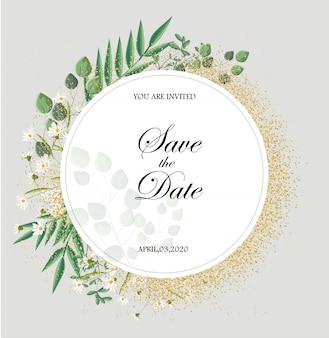 Romantische einladungskarte mit blättern und kamillenblüten