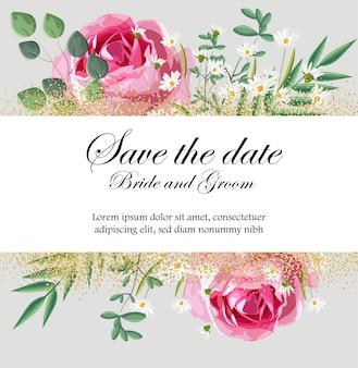 Romantische einladungskarte mit rosen-, kamillenblüten und -blättern