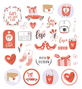 Romantische elemente zum valentinstag.