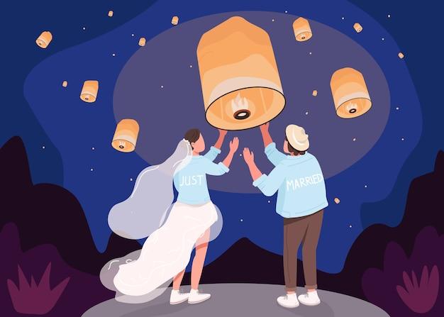 Romantische feier mit laternen flache farbillustration. nachthimmel für papierlicht zu schweben. traditionelle orientalische hochzeit. 2d-zeichentrickfiguren des indischen paares mit nachtlandschaft auf hintergrund