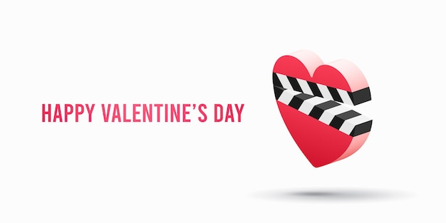 Romantische filmikone mit herzklöppel isoliert. valentinstag illustration