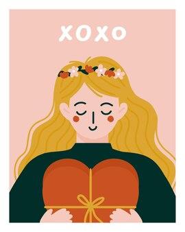 Romantische frau, die geschenk zum valentinstag gibt.