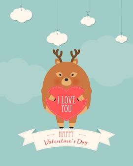 Romantische geschenkkarte zum valentinstag