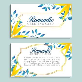 Romantische grußkarte mit blauem und gelbem laub und goldenem rahmen