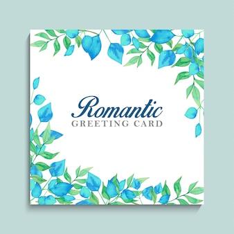 Romantische grußkarte mit blauem und grünem laub und goldenem rahmen