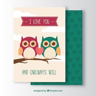Romantische grußkarte mit niedlichen eulen