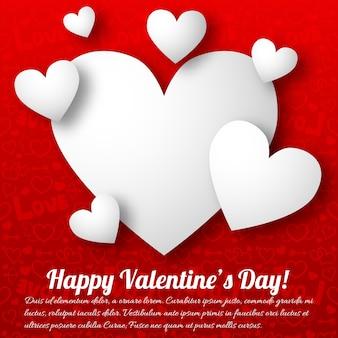 Romantische grußkarte mit weißen textherzen auf roter illustration