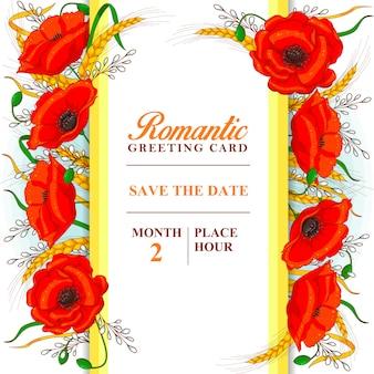 Romantische grußkartenschablone mit mohnblumen und den weizenähren