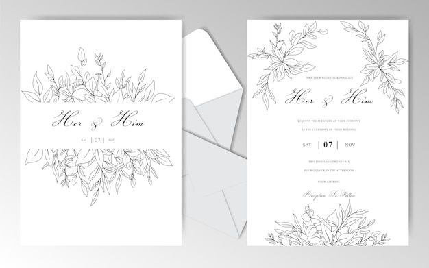 Romantische hand gezeichnete hochzeitseinladungskartenschablone