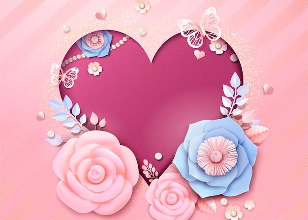 Romantische herzförmige grußkarte mit und papierblumendekorationen im 3d-stil