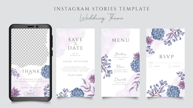 Romantische hochzeitseinladung mit aquarellblumenrahmen für instagram-geschichtenschablone