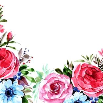 Romantische hochzeitseinladung mit buntem blumenkartenhintergrund