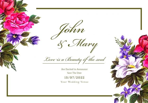 Romantische hochzeitseinladung mit bunter blumenkarte